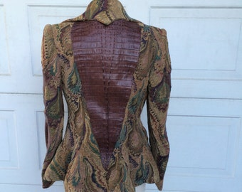 Fantasy avant garde cosplay Jacket 80s 90s peplum wide collar brown green Paisley Tapestry faux croc leather fitted blazer   Women Medium