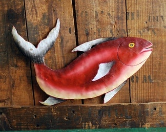 Leaping Salmon, Handmade Metal Folk Art Fish Wall Hanging