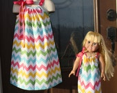Matching Child (0-8) and Doll (16-18 inches) Pillowcase Dresses in Riley Blake Pink Girl Chevron