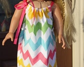 Pillowcase Dress for 16-18 inch doll in Riley Blake Pink Girl Chevron