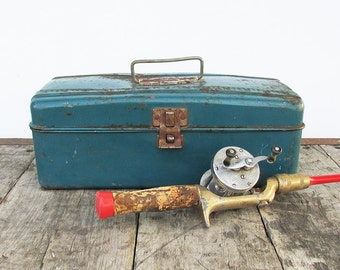 Old, Distressed Teal Color Tackle Box, Toolbox, Utility Box