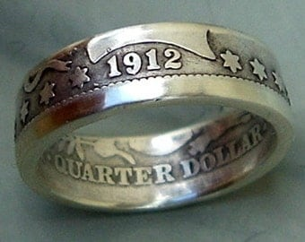 Barber Quarter Dollar Coin Ring  (90% Silver) (Available in sizes 4 through 8.5)