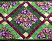 """ON SALE! Quilted Table Runner """"Iris Garden""""  in Violet, Spring Greens and Golden Yellow"""