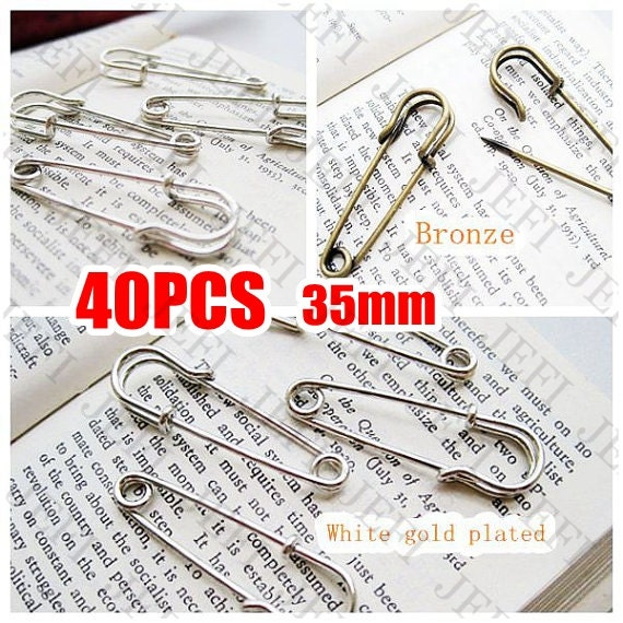 40 Brooch Base- 35mm Antique Bronzed (Z5772)/ White Gold Plated Tone (Z5776) Pin Brooch as your choice