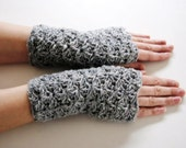 Tweed grey warmers, fingerless mittens, hand-crocheted & ready to ship