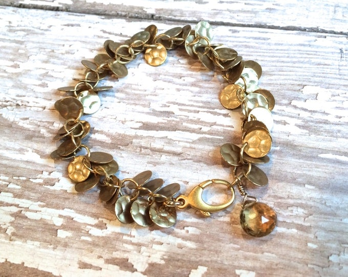 Gold Sequin Bracelet with Citrine Dangle