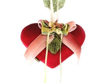 Red velvet heart sachet with velvet flowers