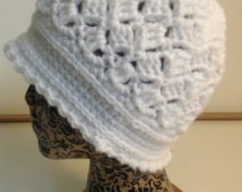 White Crochet Cloche