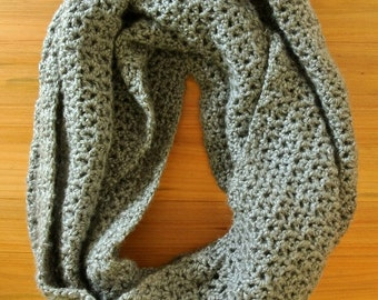 Grey Crochet Infinity Scarf