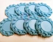 Blue Flat back Resin Cameo Setting | Blue Resin Setting | 25mm Inner Setting | Bottle Cap