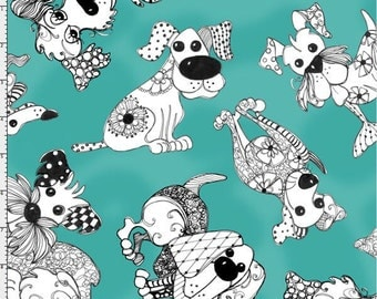 NEW Loralie Designs Doodle Dogs Turquoise fabric - 1 yard