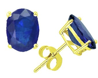 blue sapphire earrings 14k yellow gold