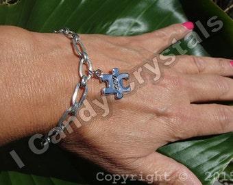 Silver Autism Puzzle Piece Bracelet