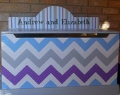 Toy Chest Bench Gray Blue Purple Chevron Baby Nursery Bench Toy Box Kids and Baby Chest Toy Bin Toy Storage Custom Hand Painted Kids