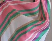 "Beautiful White Pink Vintage Soft Acetate Scarf - 14"" x 68"" Long - Jaques Piaget"