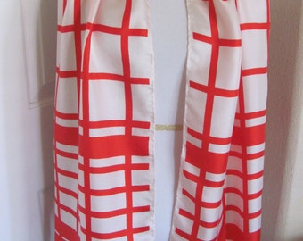 "Echo // OMG So Beautiful Vintage Red White Soft Silk Scarf - 15"" x 60"" Long"