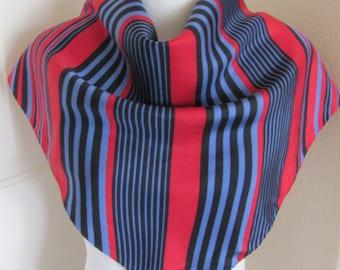 "Beautiful Red Blue Black Soft Silk Scarf - 26"" Inch 61cm Square"