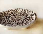 Ceramic Soap dish, Lace soap dish, Round  footed soap dish in brown color