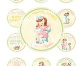 Digital PRINTABLE Vintage Sewing Sew Crafty Tea Party Nursery Celebrate Tea Party Daughter Cupcake Cake Topper Circle Label Tag Image Sh339