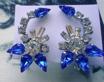 Jay Flex Signed Sterling 1950's Sapphire Blue Baguette Climber Earrings Bridal Wedding