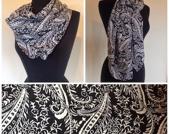 Handmade large square silky paisley boho scarf