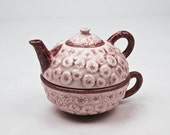 Tea for One Teapot Tea Cup Set Glazed Pottery in Mauve and Burgundy Floral Pattern