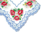 Vintage Floral Hankie Retro Hankie Handkerchief Shabby Cottage Chic Pink Roses Blue Scalloped Edge
