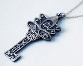 Key Talisman - Pendant - Necklace - Bronze - Gold Plated Chain - Magic - Magik - Protection - Symbols