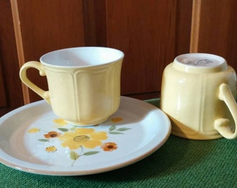 Yellow tea cups and flower plate vintage tea party