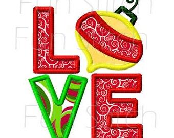 Christmas ornament love applique machine embroidery design