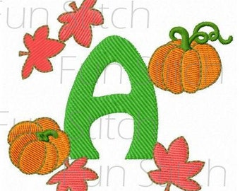 Fall leaves pumpkin font letters machine embroidery design