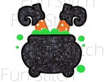 Halloween witch cauldron applique machine embroideyr design