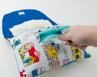Diaper and Wipe Clutch in Japanese Monsters Fabric
