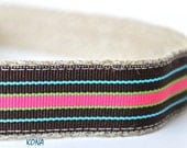 ON SALE - Teal and Coral Stripe Dog Collar, Kona Dog Collar, Stripe Collar, Dog Collar