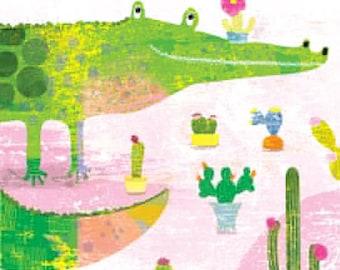 CROCOCACTUS art print // crocodile illustration // green pink wall decor