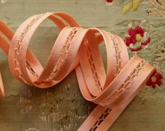 1 yard Vintage pink lingerie strap ribbon trim featherstitch satin rayon cotton soft strapping