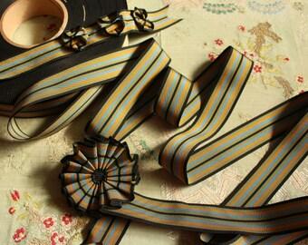 "2 yards vintage rayon cotton faille grosgrain striped ribbon trim ribbonwork cocarde black blue gold millinery hat doll dressing 1.25"" wide"