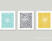 Modern Flowers Art Prints - Abstract Flower Wall Art - Dahlia Art Print - Set of 3 Prints - Floral Wall Art - Home Decor - Blue Grey Yellow