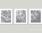 Modern Tree Branches Art Prints - Set of 3 - Modern Nature Wall Art - Slate Grey and White - Contemporary Tree Trio Wall Art - Custom Color