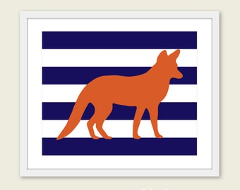 Fox Art Print - Stripes - Orange and Navy - Woodland Animal - Wall Art - Nursery Fox Decor - Modern Animal Art Print