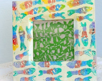 Fish photo frame hand printed colorful fish collage reuse 6 inch square wood frame red blue yellow green vegan Earth friendly