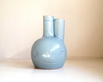 Ceramic Blue Celadon Beastie Bud Vase