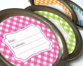 Bright Gingham canning jar labels, round jar labels for fruit preservation, jam & jelly mason jar labels, cottage chic pink blue