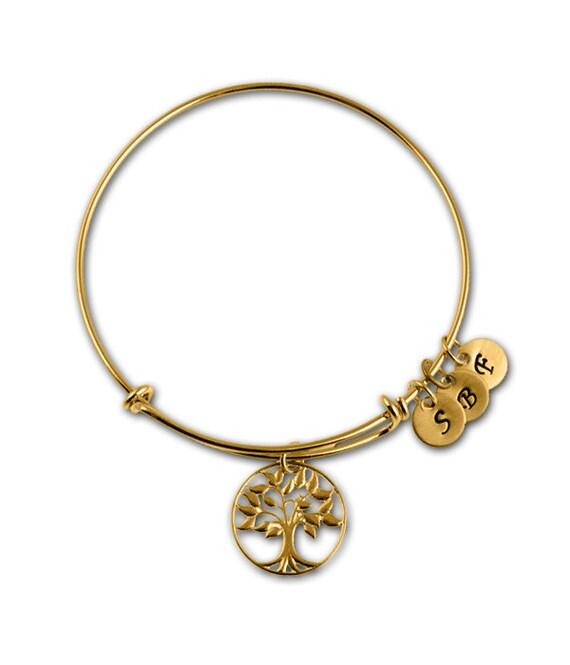 gold adjustable bangle bracelet charm grandmother