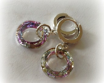 Sterling Hoop Earrings with Swarovski Crystal Cosmic Ring in Vitrail Light