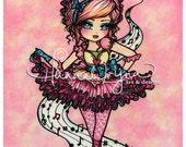 Ballerina Girl Ballet Dancer Music Art Print Fantasy Art by Hannah Lynn