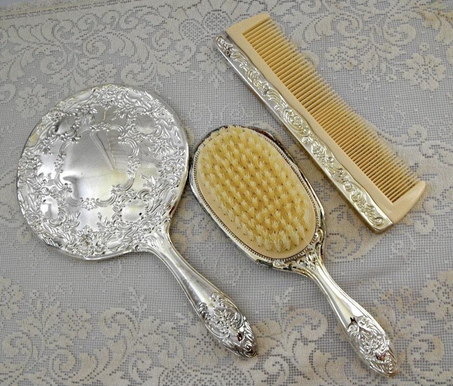 Vintage 3 Piece Victorian Vanity Set Silver Plate By Bobann23