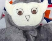 Gray Owl Security Blanket, Lovey, Lovey Blanket, Minky Baby Blanket, Stuffed Animal, Baby Toy, Teething Toy, Sensory Blanket, Baby Children