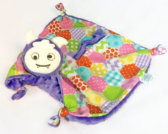 Monster Lovey, Blanket Doll, Baby Girl Soft Toy, Stuffed Animal, Animal Head Blanket, Baby Blanket, Security Blanket, Personalized Toy