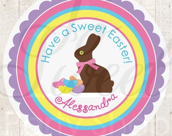 Easter Stickers - Chocolate Bunny Stickers - Easter Party Decorations - Favor Stickers - Personalized Stickers - Party Favors - Set of 24